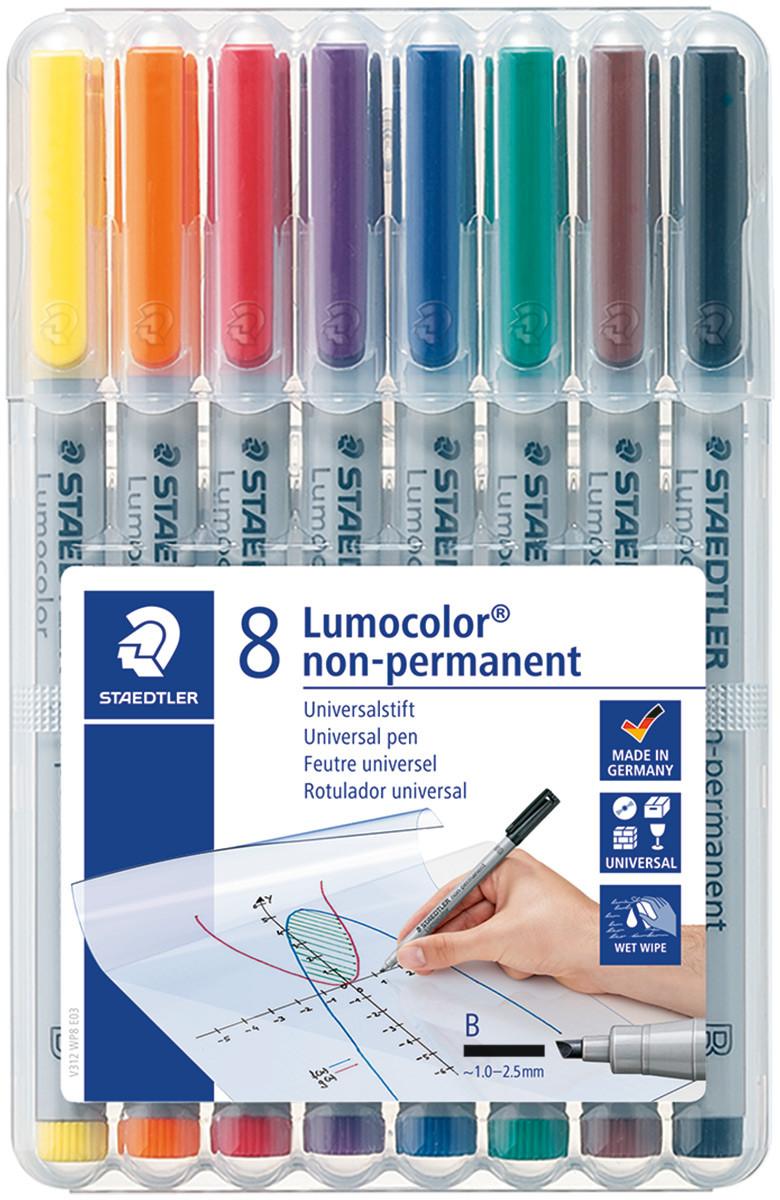 Staedtler Lumocolor Nonpermanent Pen - Broad - Assorted Colours (Pack of 8)