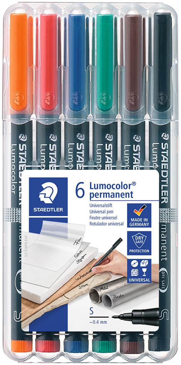 Staedtler Lumocolor Permanent Pen - Superfine - Assorted Colours (Pack of 6)