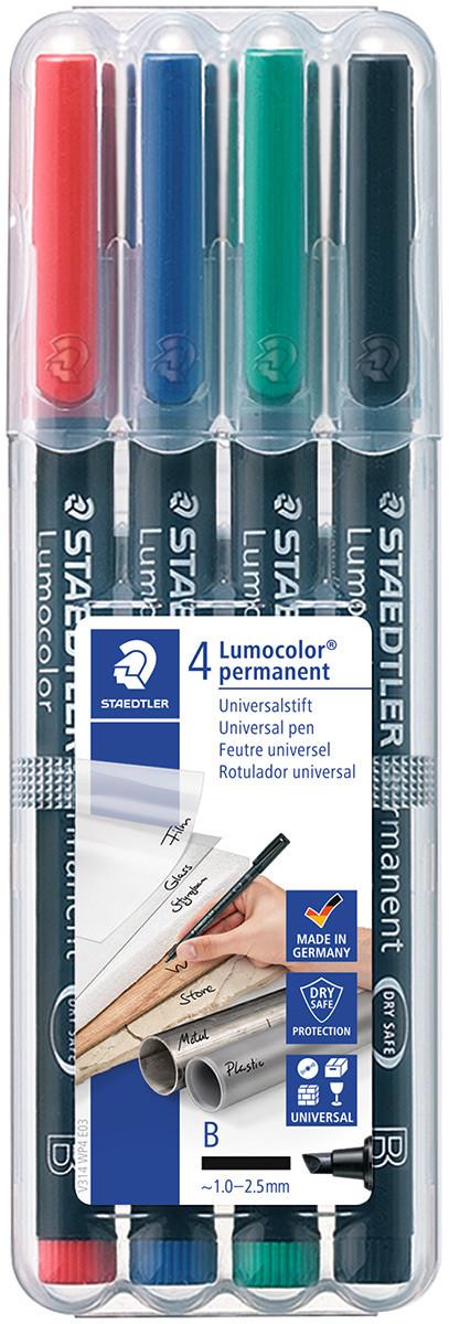 Staedtler Lumocolor Permanent Pen - Broad - Assorted Colours (Pack of 4)