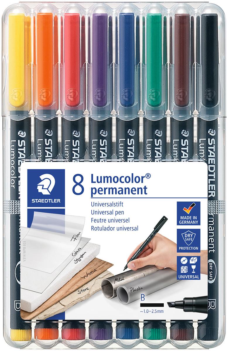 Staedtler Lumocolor Permanent Pen - Broad - Assorted Colours (Pack of 8)