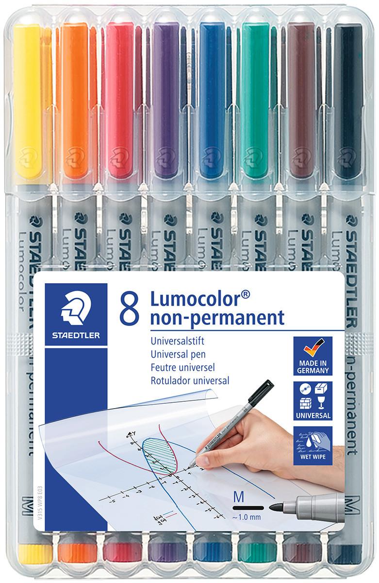 Staedtler Lumocolor Nonpermanent Pen - Medium - Assorted Colours (Pack of 8)