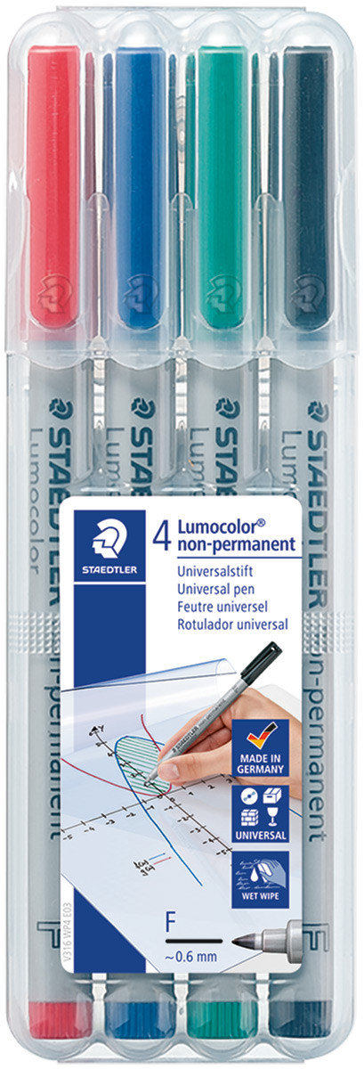 Staedtler Lumocolor Nonpermanent Pen - Fine - Assorted Colours (Pack of 4)