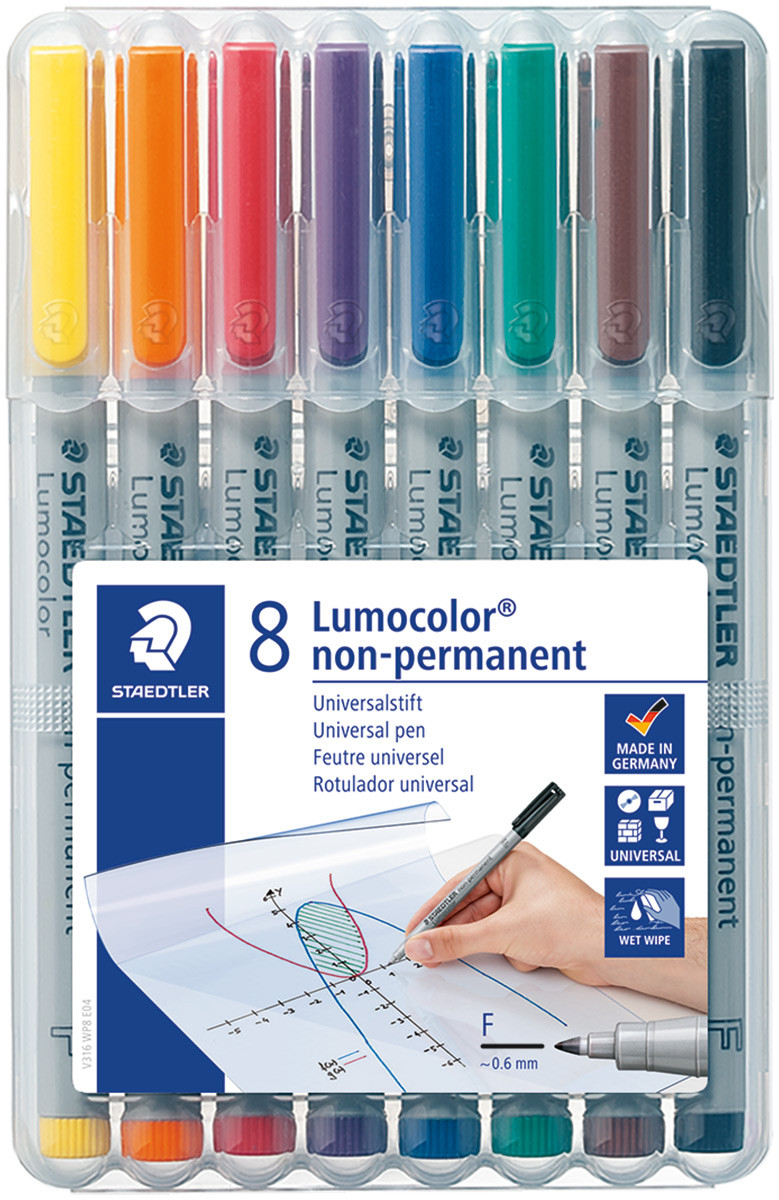 Staedtler Lumocolor Nonpermanent Pen - Fine - Assorted Colours (Pack of 8)