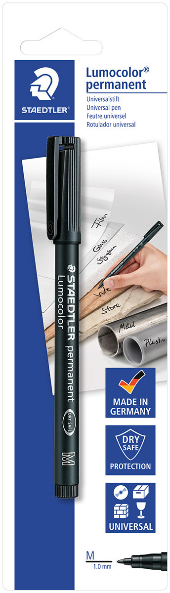 Staedtler Lumocolor Permanent Pen - Medium - Black (Blister of 1)