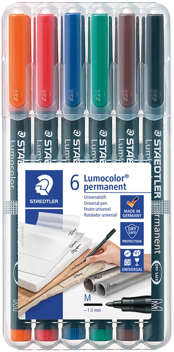 Staedtler Lumocolor Permanent Pen - Medium - Assorted Colours (Pack of 6)