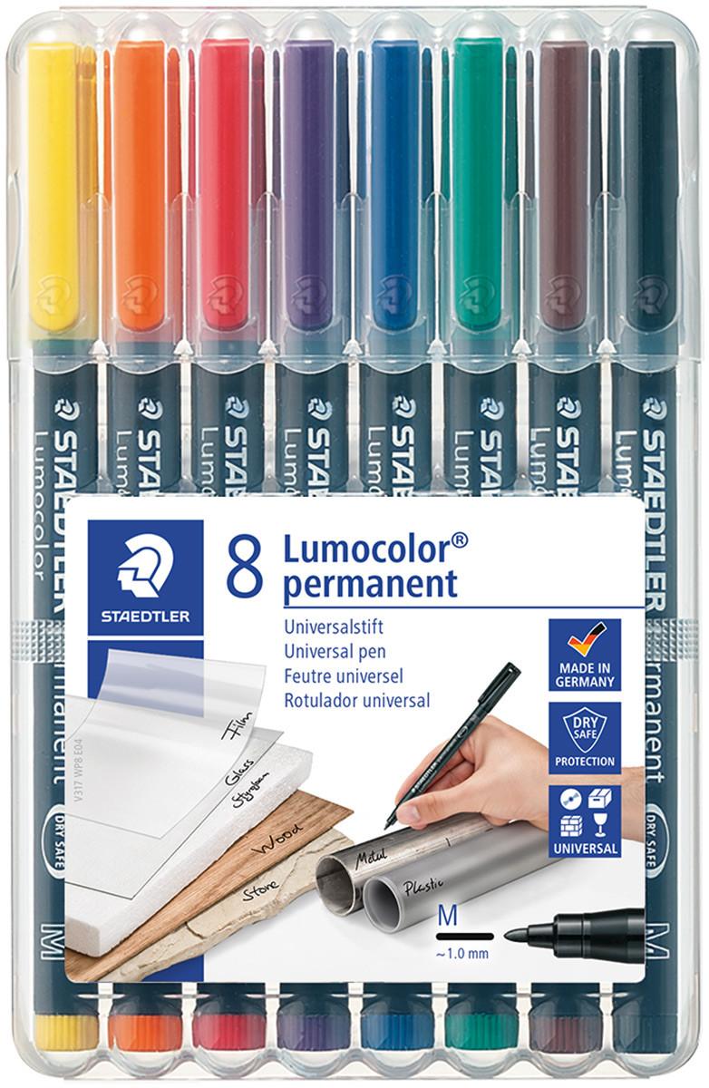 Staedtler Lumocolor Permanent Pen - Medium - Assorted Colours (Pack of 8)