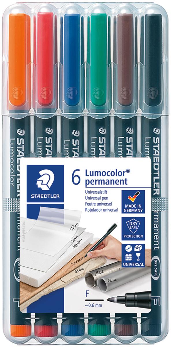 Staedtler Lumocolor Permanent Pen - Fine - Assorted Colours (Pack of 6)