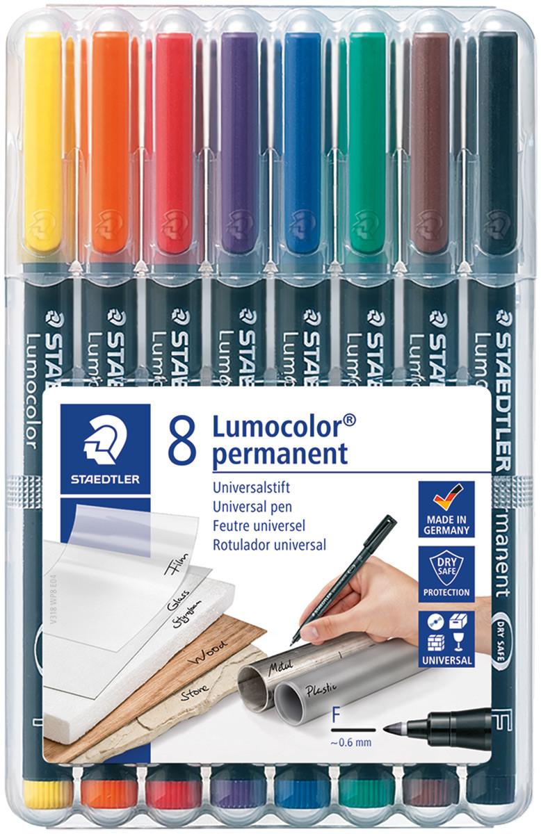 Staedtler Lumocolor Permanent Pen - Fine - Assorted Colours (Pack of 8)