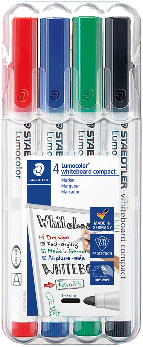 Staedtler Lumocolor Compact Whiteboard Markers - Bullet Tip - Assorted Colours (Pack of 4)