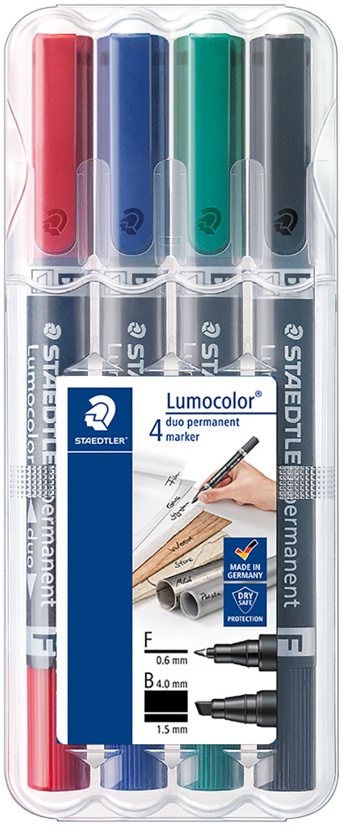 Staedtler Lumocolor Duo Permanent Marker - Bullet/Chisel Tip - Assorted Colours (Pack of 4)