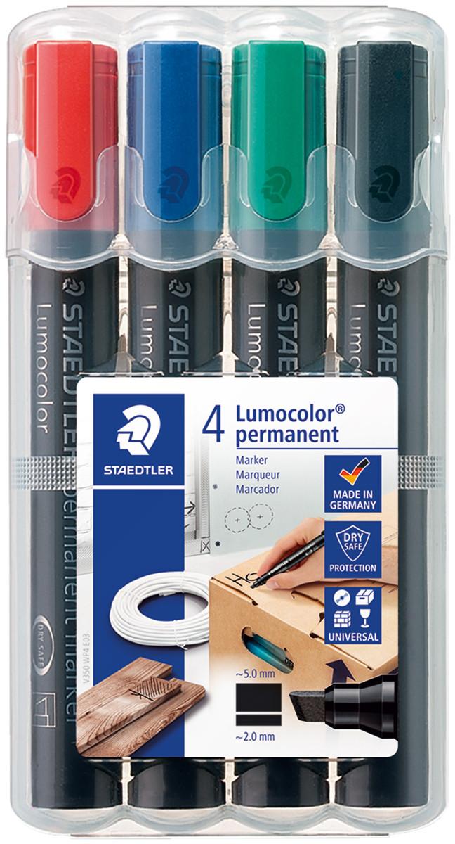 Staedtler Lumocolor Permanent Marker - Chisel Tip - Assorted Colours (Pack of 4)