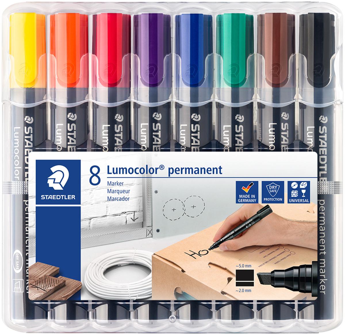 Staedtler Lumocolor Permanent Marker - Chisel Tip - Assorted Colours (Pack of 8)