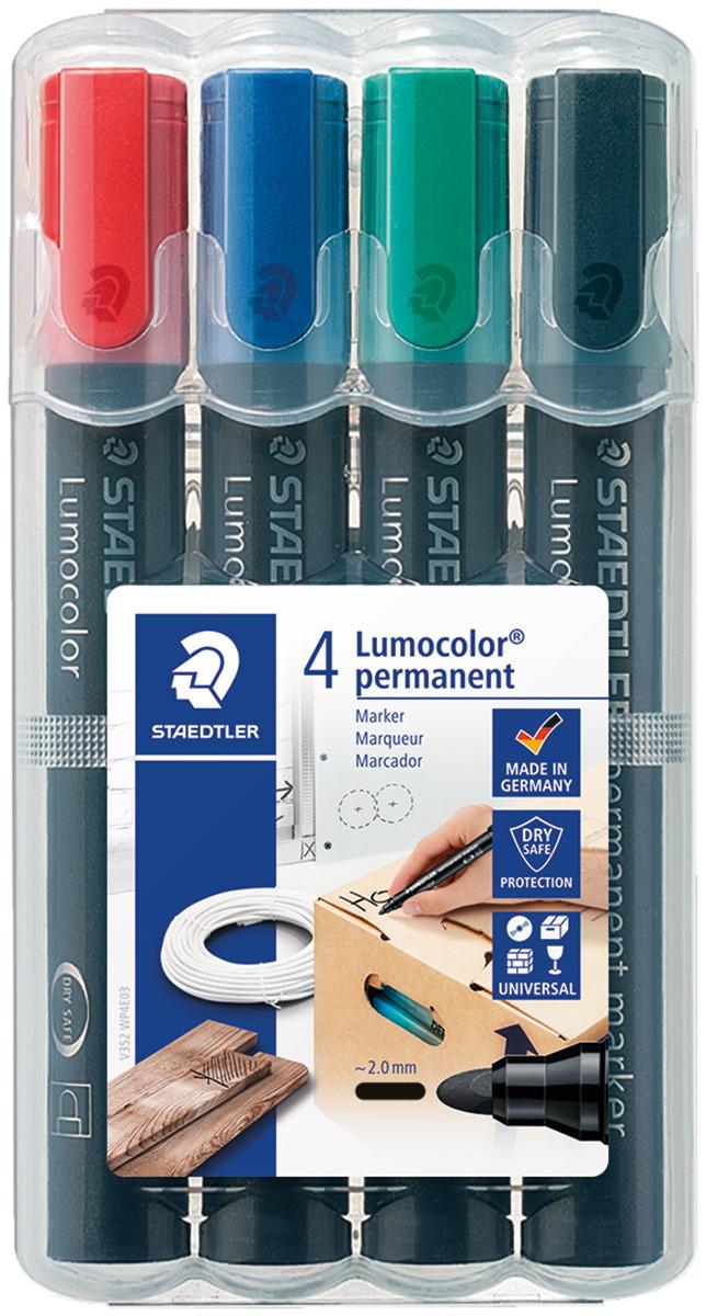 Staedtler Lumocolor Permanent Marker - Bullet Tip - Assorted Colours (Pack of 4)