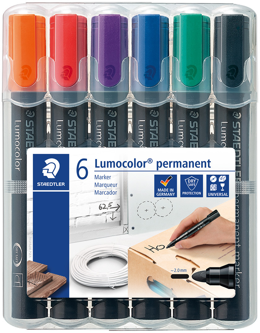 Staedtler Lumocolor Permanent Markers - Bullet Tip - Assorted Colours (Pack of 6)