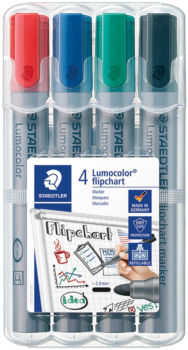 Staedtler Lumocolor Flipchart Marker - Bullet Tip - Assorted Colours (Pack of 4)