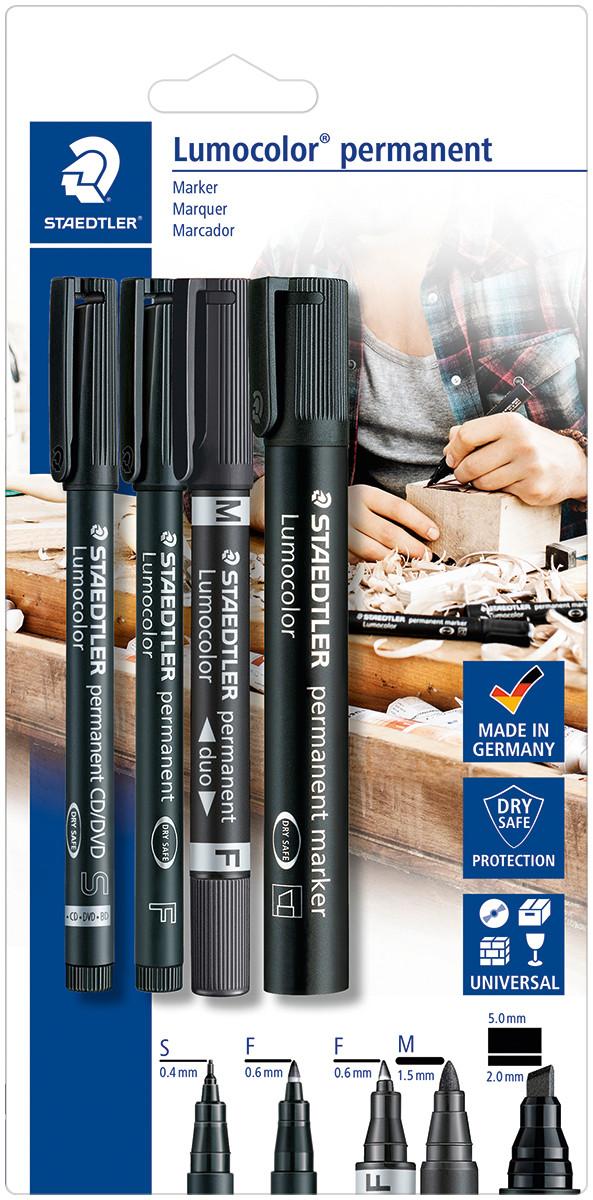 Staedtler Lumocolor Permanent Marker Set  - Assorted Tip Sizes (Blister Pack of 4)