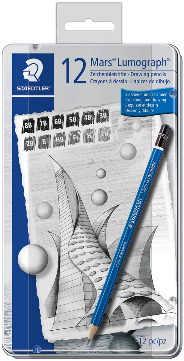 Staedtler Mars Lumograph Drawing Pencils - Soft Degrees (Tin of 12)