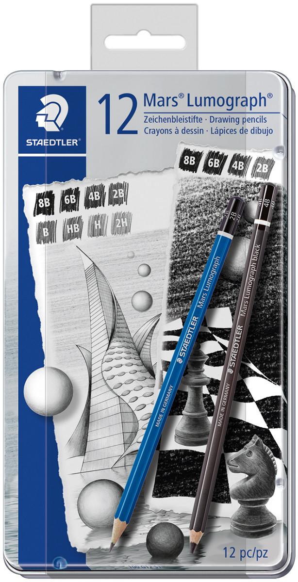 Staedtler Mars Lumograph Pencil Set - 8 Lumograph plus 4 Lumograph Black Pencils