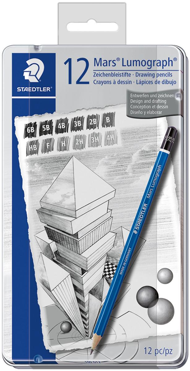 Staedtler Mars Lumograph Drawing Pencils - Medium Degrees (Tin of 12)
