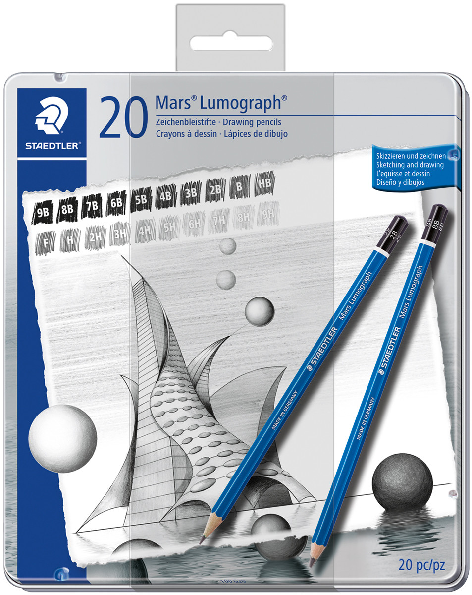 Staedtler Mars Lumograph Drawing Pencils - All Degrees (Tin of 20)