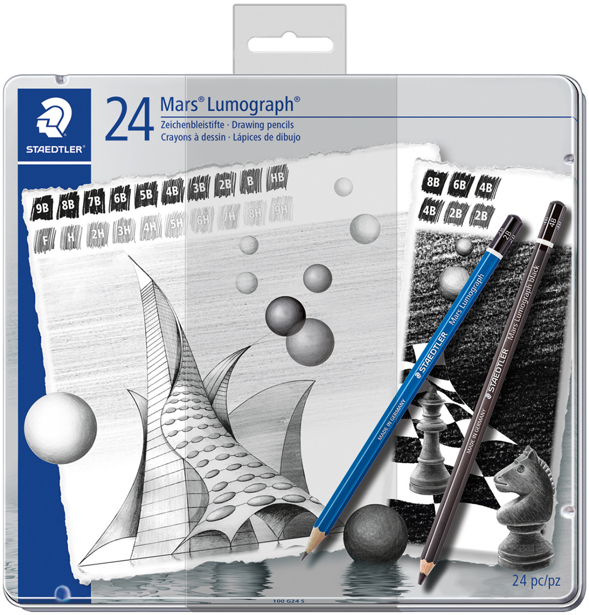 Staedtler Mars Lumograph Pencil Set - 20 Lumograph plus 4 Lumograph Black Pencils