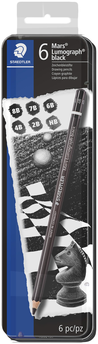 Staedtler Mars Lumograph Black Pencils - Assorted Degrees (Tin of 6)