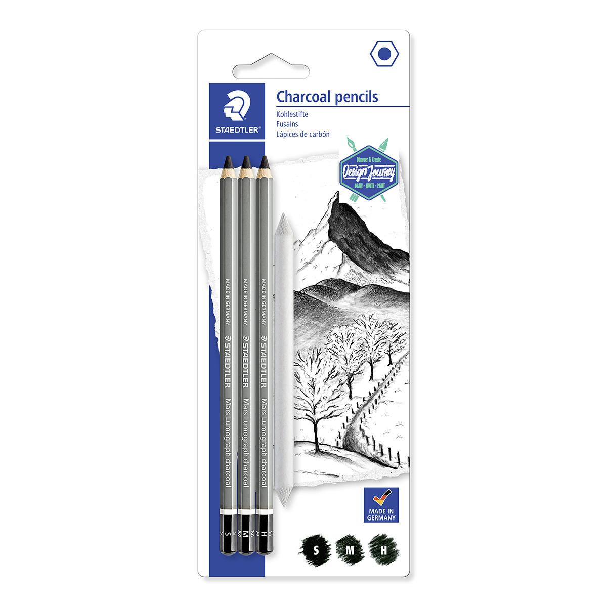 Staedtler Lumograph Charcoal Pencil - Assorted Grades (Pack of 3)