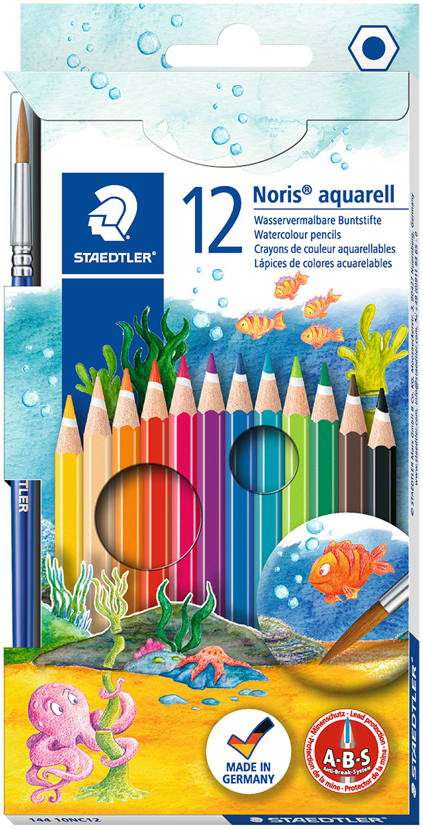 Staedtler Noris Club Aquarell Watercolour Pencils with Paint Brush - Assorted Colours (Pack of 12)