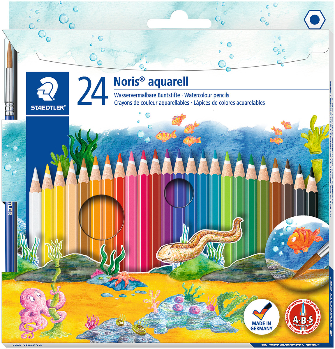 Staedtler Noris Club Aquarell Watercolour Pencils with Paint Brush (Pack of 24)