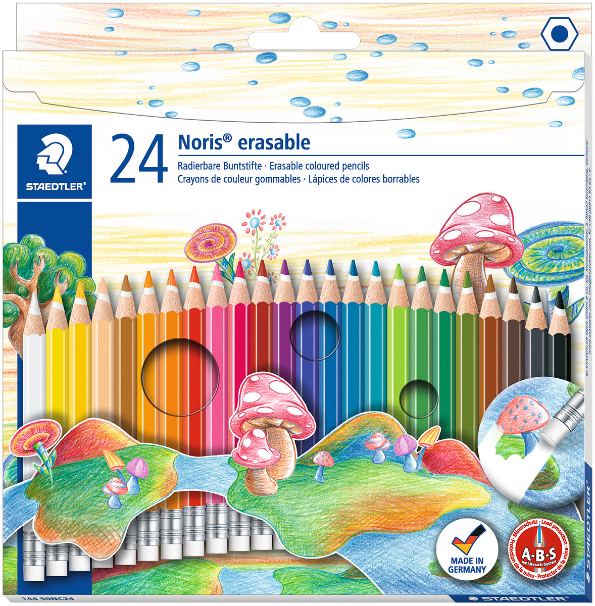 Staedtler Noris Club Erasable Coloured Pencils with Eraser Tip - Assorted Colours (Pack of 24)