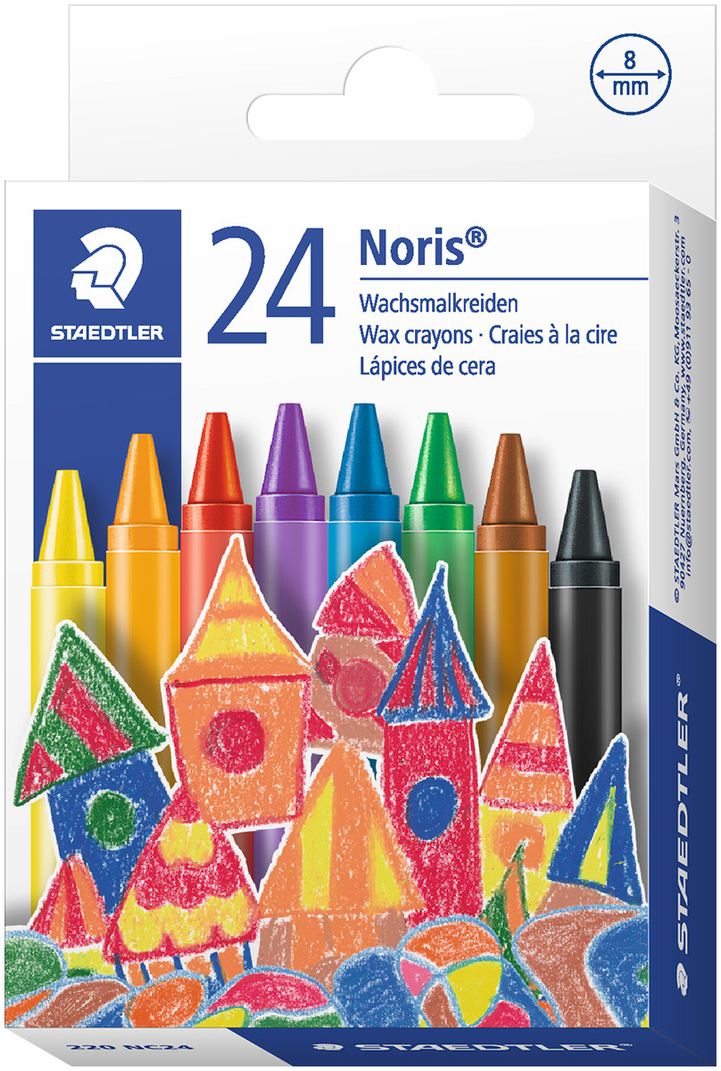 Staedtler Noris Club Wax Crayons - Assorted Colours (Pack of 24)