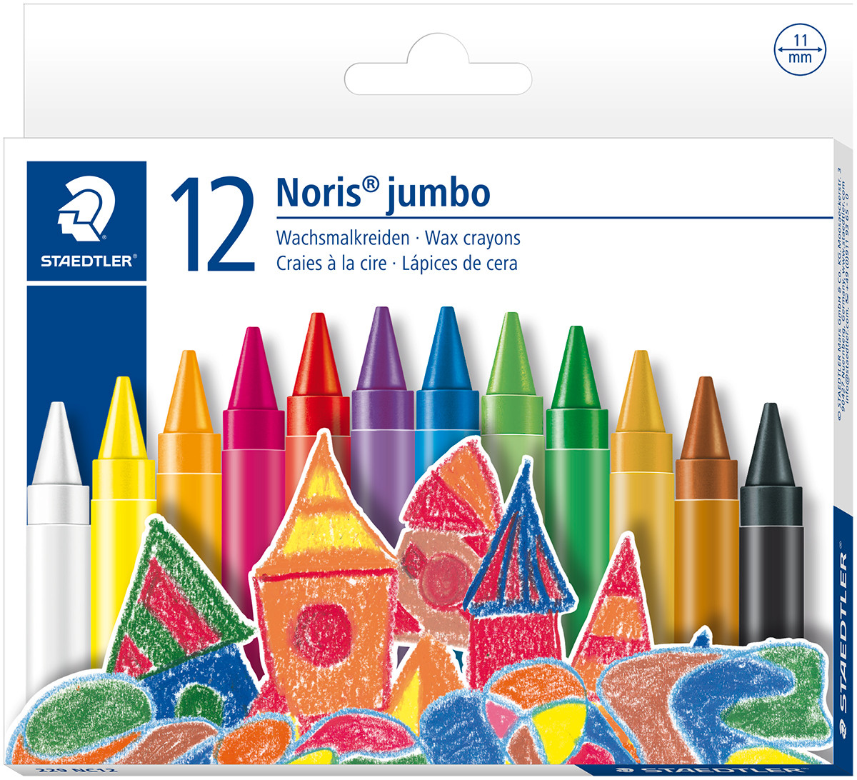 Staedtler Noris Club Jumbo Wax Crayons - Assorted Colours (Pack of 12)
