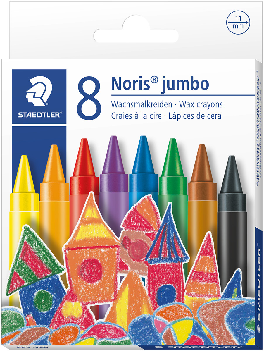Staedtler Noris Club Jumbo Wax Crayons - Assorted Colours (Pack of 8)