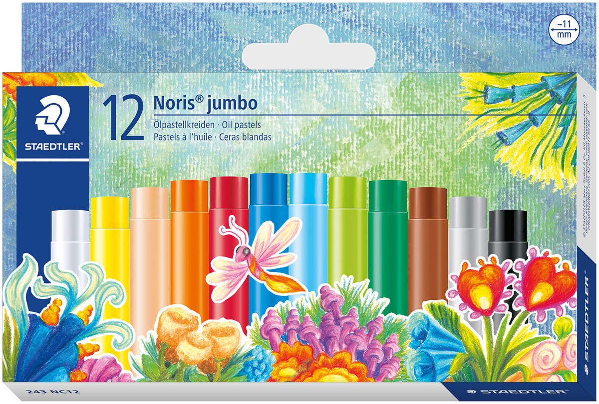 Staedtler Noris Club Jumbo Oil Pastels - Assorted Colours (Pack of 12)