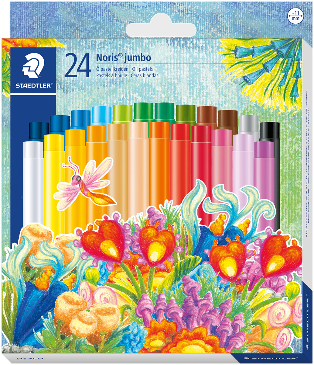 Staedtler Noris Club Jumbo Oil Pastels - Assorted Colours (Pack of 24)