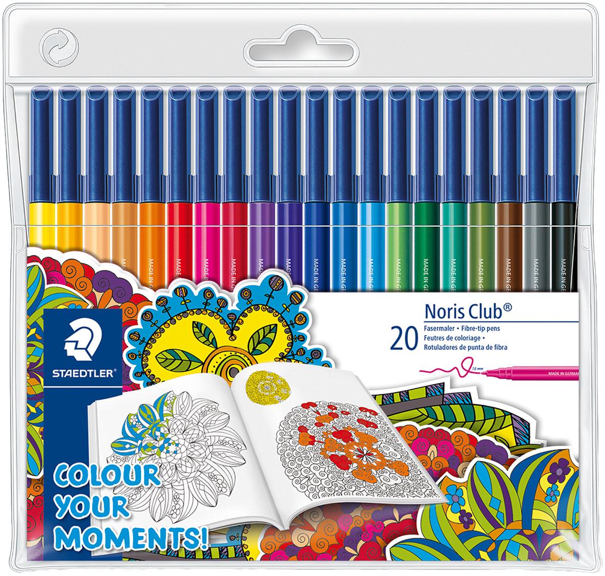 Staedtler Noris Club Fibre Tip Pens - Assorted Colours (Pack of 20)