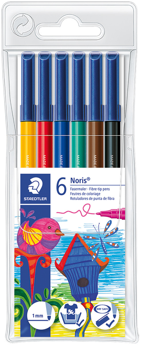 Staedtler Noris Club Fibre Tip Pens - Assorted Colours (Pack of 6)