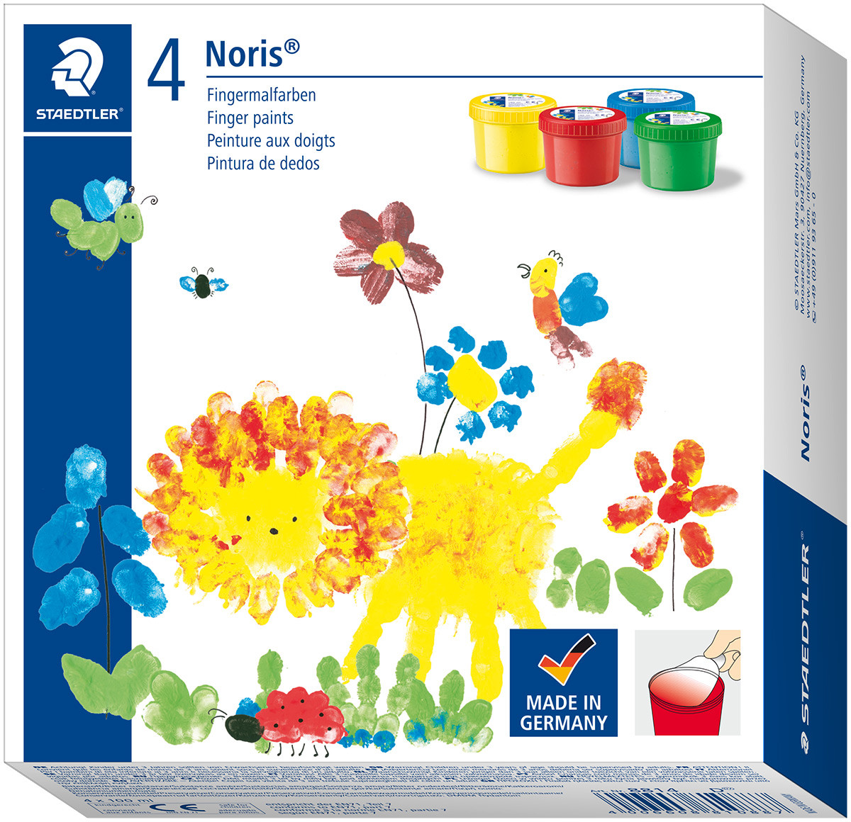 Staedtler Noris Club Finger Paints 100ml - Assorted Colours (Pack of 4)