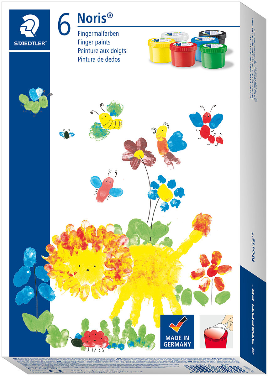 Staedtler Noris Club Finger Paints 100ml - Assorted Colours (Pack of 6)
