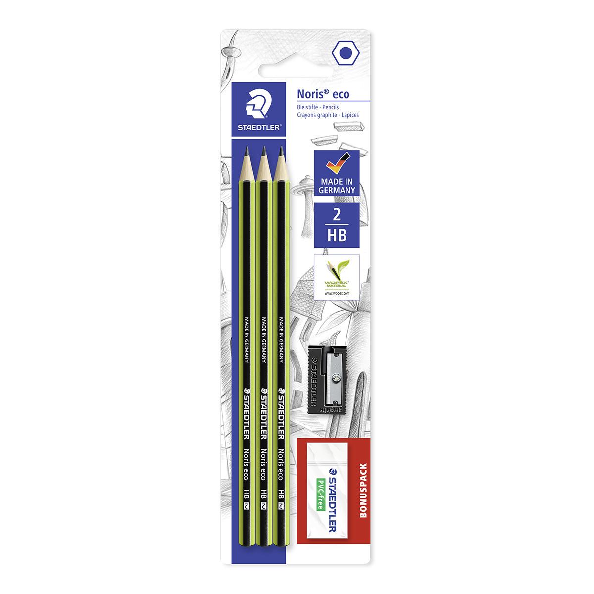 Staedtler Noris Eco Pencil Set with Eraser & Sharpener
