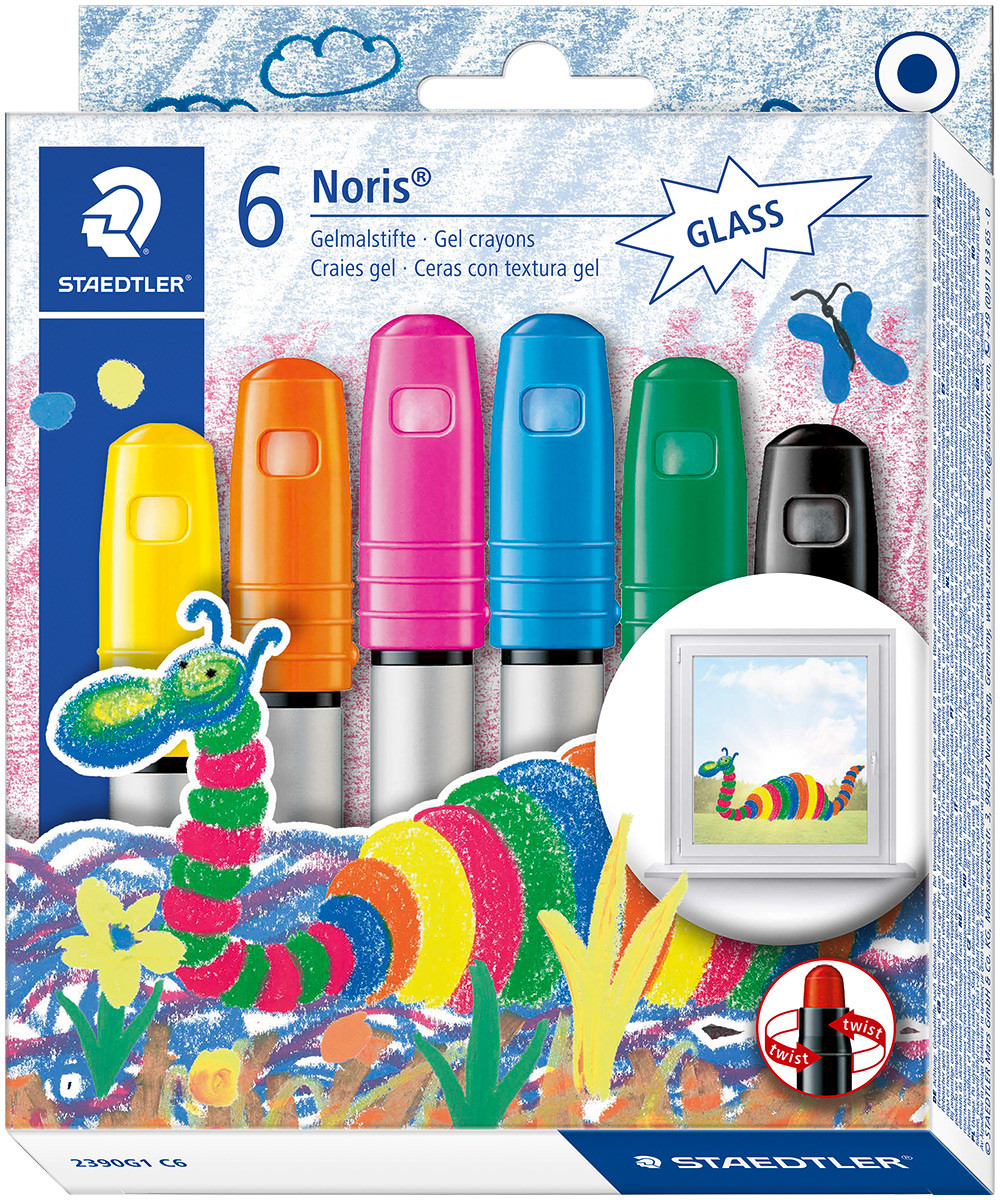 Staedtler Noris Gel Twist Crayons - Glass - Assorted Colours (Pack of 6)