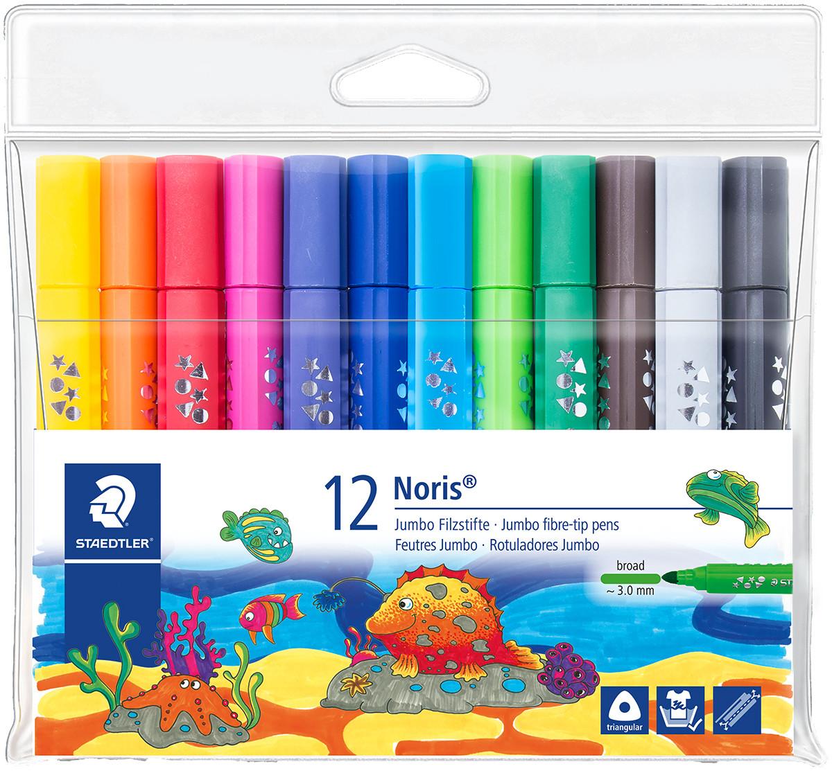 Staedtler Noris Triangular Jumbo Fibre Tip Pen - Broad  - Assorted Colours (Wallet of 12)