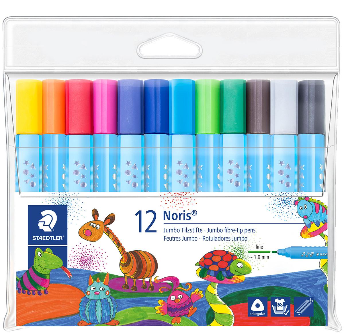 Staedtler Noris Triangular Jumbo Fibre Tip Pen - Fine  - Assorted Colours (Wallet of 12)