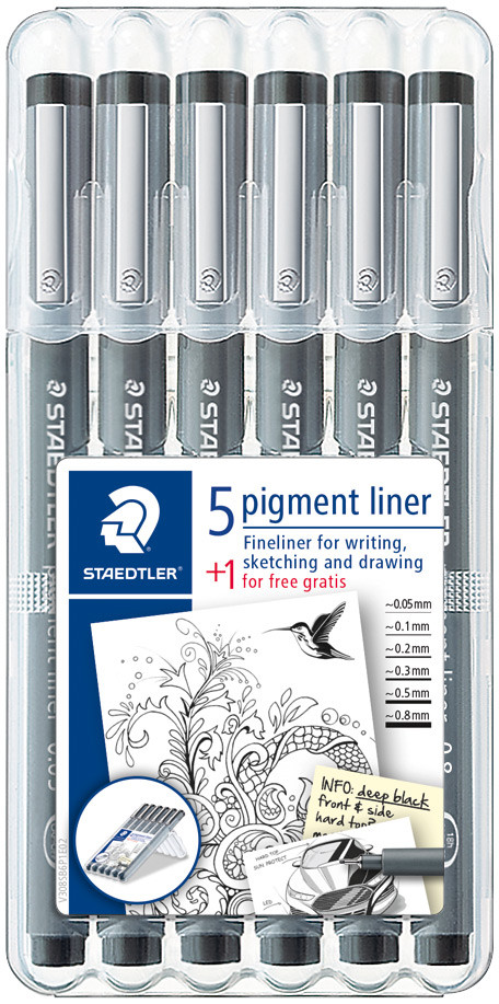 Staedtler Pigment Liner Set - Assorted Line Widths (Pack of 6)
