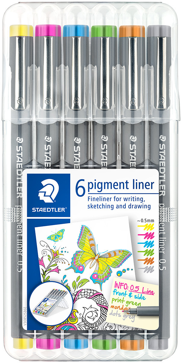 Staedtler Pigment Liner - 0.5mm - Assorted Colours (Wallet of 6)
