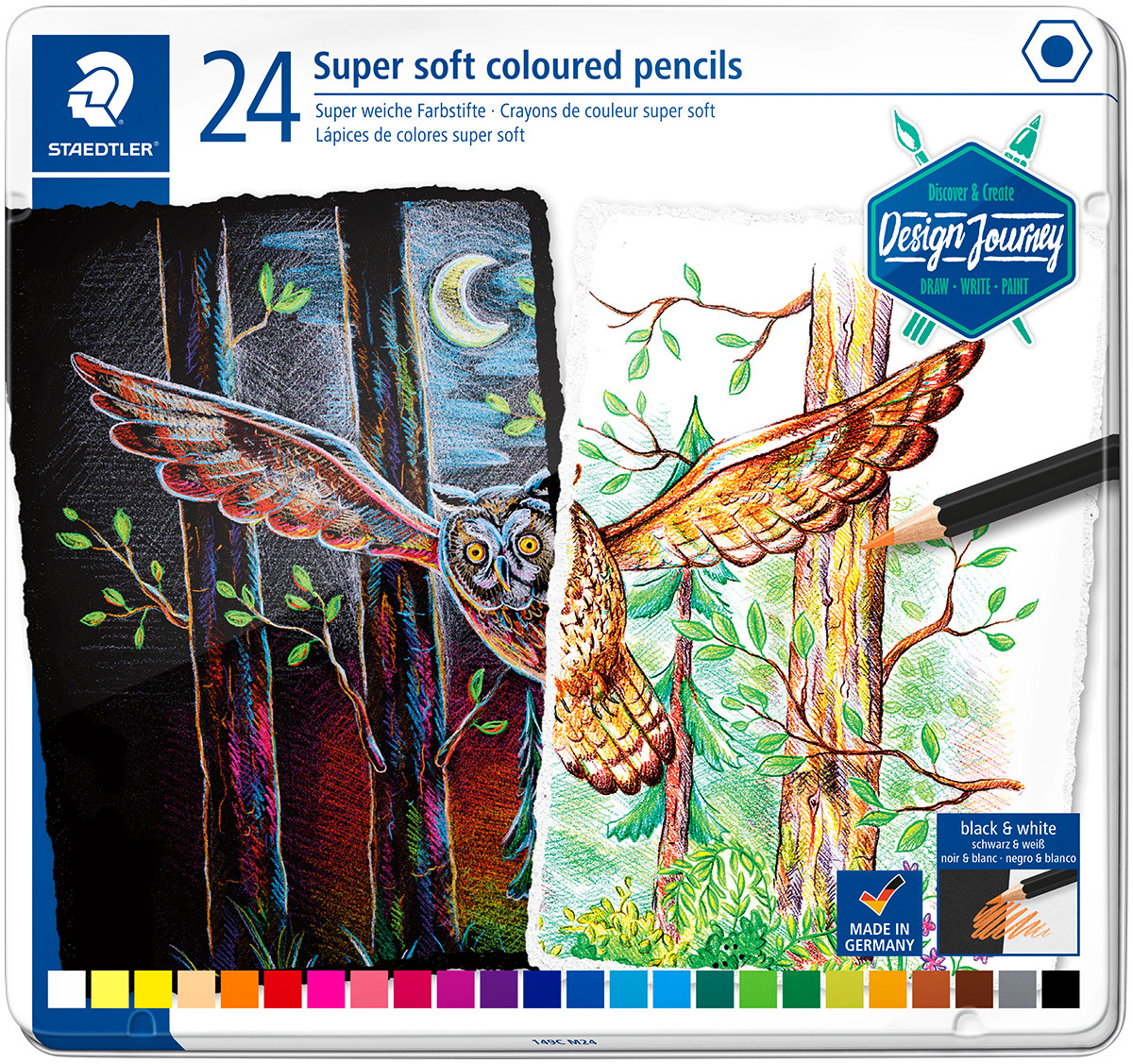 Staedtler Super Soft Colouring Pencils - Assorted Colours (Tin of 24)