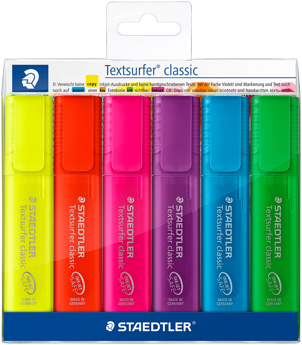 Staedtler Textsurfer Classic Highlighter - Assorted Colours (Wallet of 6)