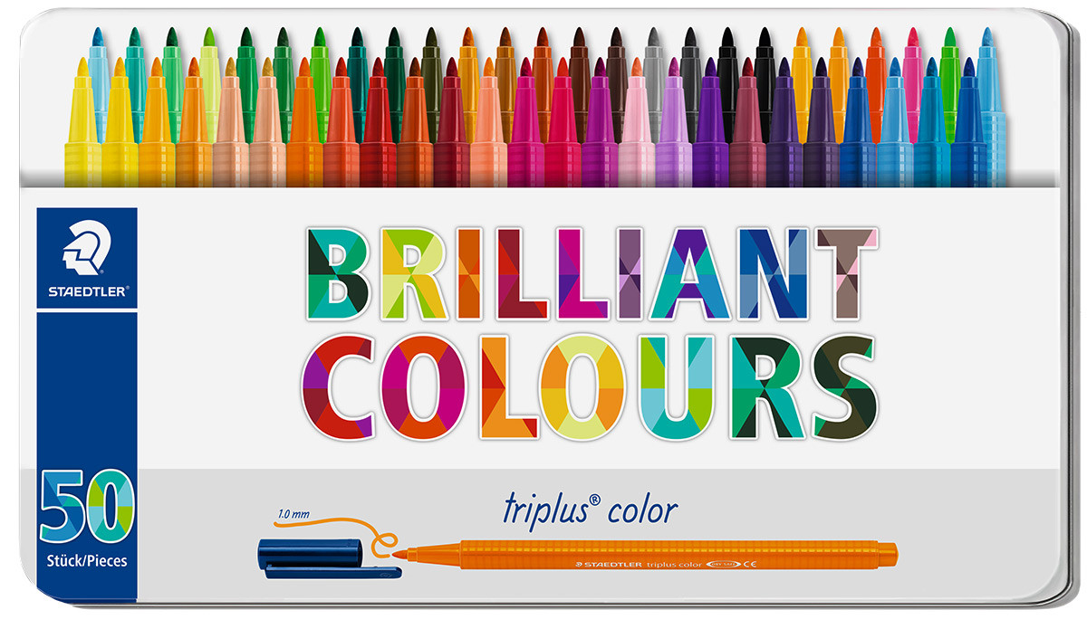 Staedtler Triplus Triangular Fibre Tip Pens - Assorted Colours (Tin of 50)