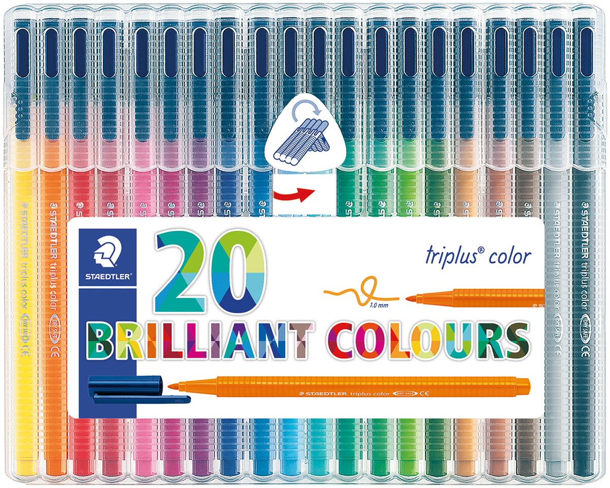 Staedtler Triplus Triangular Fibre Tip Pens - Assorted Colours (Wallet of 20)