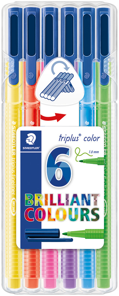 Staedtler Triplus Triangular Fibre Tip Pens - Assorted Neon Colours (Wallet of 6)